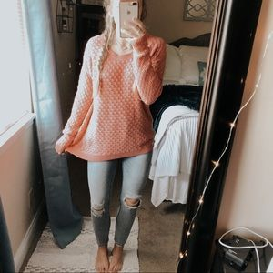 Old Navy Coral Chunky Knit Pullover Sweater
